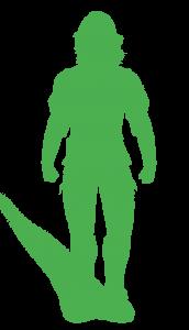 L'homme en vert avec l'ombre