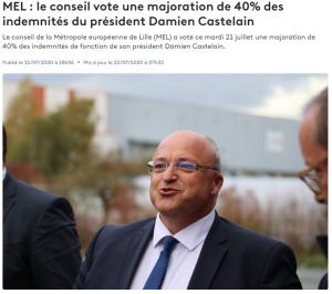 Une majoration de 40% des indemnités du président Damien Castelain